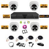 Sistem complet de supraveghere kit DVR  FullHD 1080p  4 camere HD de interior 4i