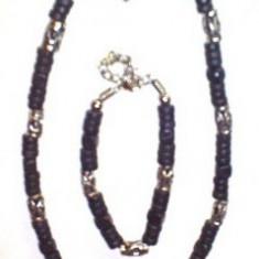 Set - colier si bratara culoare neagra cu modele metal - Jamaica