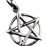 Pandantiv argint pentagramă pe cerc - Pandantiv fashion
