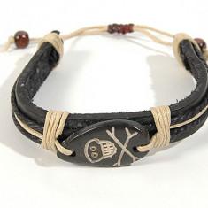 Bratara artizanat - logo craniu cu oase - Bratara Fashion