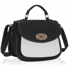 Geanta dama casual negru cu alb - Geanta neagra / geanta alba tip postas Sara
