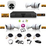 Sistem complet de supraveghere kit DVR - FullHD 1080p + 4 camere HD mixt 3e1i