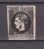 Romania.1867.Carol I cu favoriti, hartie subtire, negru pe h. roz ROR.1867.20c, Stampilat