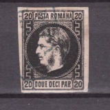 Romania.1867.Carol I cu favoriti, hartie subtire, negru pe h. roz ROR.1867.20c