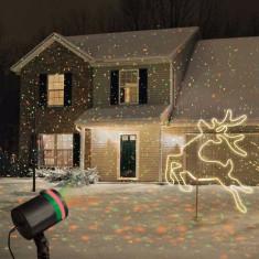 Proiector laser cu jocuri de stelute luminoase, pentru exterior