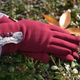 Manusi Touchscreen de iarna cu interior captusit, culoare marsala - Manusi Dama