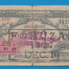 Ungaria Bilet loto 1927 - Bilet Loterie Numismatica