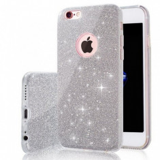 Husa iPhone 7 Plus TPU Glitter Silver - Husa Telefon Apple, iPhone 7/8 Plus, Gri, Gel TPU, Fara snur, Carcasa