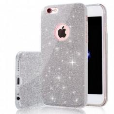 Husa iPhone 7 Plus TPU Glitter Silver - Husa Telefon Apple, Gri, Gel TPU, Fara snur, Carcasa