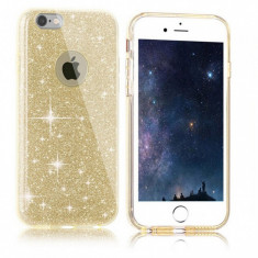 Husa iPhone 7 Plus TPU Glitter Gold - Husa Telefon Apple, iPhone 7/8 Plus, Auriu, Gel TPU, Fara snur, Carcasa