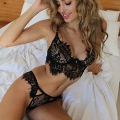 Lenjerie Lady Lust Sexy Black Dantela Print Bikini Tanga + Sutien Set 2 Piese - Lenjerie sexy dama, Culoare: Alb, Negru, Marime: S, M