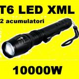 Lanterna puternica LED CREE XML T6  cu 2 acumulatori 5 faze + zoom