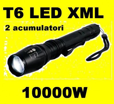 Lanterna LED CREE XML T6  cu 2 acumulatori 5 faze + zoom, puternica foto