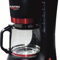 Filtru de cafea - negru+rosu - 680 W, 1.2 l, 10 cesti - NOU - Cafetiera Albatros