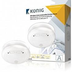 Alarma de fum optic interconectabil wireless Konig SAS-SA200, Baterie: 1x R22 + 3x R6 - Senzor de fum