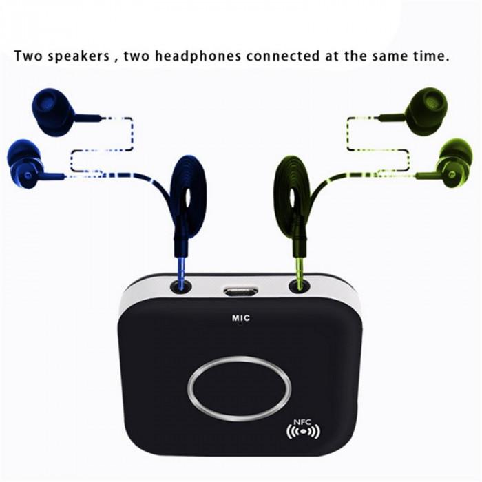 Receiver Receptor Audio Bluetooth, NFC Bluetooth 4.1, 2 iesiri audio, microfon foto mare