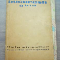 MSHAR - HARTA TURISTICA - GHIDUL BUCURESTIULUI - ANII 60 - PIESA DE COLECTIE