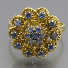 Inel Vintage Aur 18k Cu Safire - Inel aur, Culoare: Galben