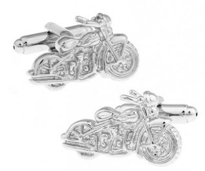 Butoni camasa argintii model motocicleta + ambalaj cadou foto