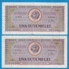 100000 lei 1947 25 Ianuarie 5 2 Consecutive - Bancnota romaneasca