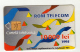 ROM 007A  CARTELA ROMTELECOM 10000 LEI DESEN ABSTRACT 1995