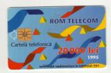 ROM 010A  CARTELA ROMTELECOM 20000 LEI DESEN ABSTRACT 1995