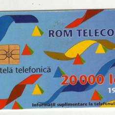 ROM 010A CARTELA ROMTELECOM 20000 LEI DESEN ABSTRACT 1995 - Cartela telefonica romaneasca