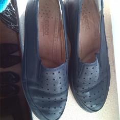 ECCO pantofi dama piele marime 38 mocasini - Pantof dama Ecco, Culoare: Negru, Cu talpa joasa