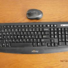 Kit Tastatura + Mouse nJoy CM410 black Wireless - FARA RECEIVER, Multimedia, Fara fir, USB