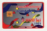 ROM 002D CARTELA ROMTELECOM 5000 LEI DESEN ABSTRACT 1993 CU SEMNUL MORENO