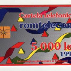 ROM 002D CARTELA ROMTELECOM 5000 LEI DESEN ABSTRACT 1993 CU SEMNUL MORENO - Cartela telefonica romaneasca
