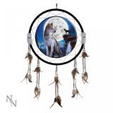 Dreamcatcher 60 cm lupi Luna albastră