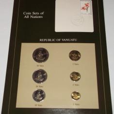 SET 6 MONEDE Vanuatu FRANKLIN MINT COIN SETS OF ALL NATIONS UNC **, Australia si Oceania, An: 1983, Cupru-Nichel