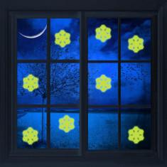 Sticker decorativ glow luminos fulgi de zapada, vinil, diametru 9 cm