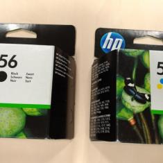 Pachet Cartuse HP56 + HP57 negru color noi SIGILATE Originale black listare