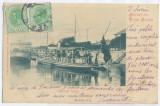 3679 - Litho, TURNU SEVERIN, ships - old postcard - used - 1900, Circulata, Printata
