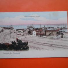 HOPCT 21 K PORTUL CONSTANTA IN LUCRARE IN 1908 STAMPILA GOARNA/RARA-CT-CIRCULATA - Carte Postala Dobrogea 1904-1918, Printata