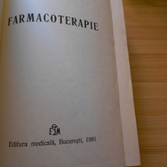 DUMITRU DOBRESCU--FARMACOTERAPIE - 1981 - Carte Farmacologie