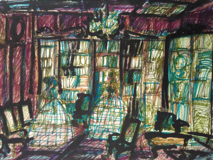 In biblioteca - scenografie teatrala, acuarela
