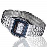 Ceas barbatesc Vintage Quartz digital  cu data alarma cronometru, Lux - sport, Inox