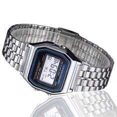 Ceas barbatesc Vintage Quartz digital cu data alarma cronometru, Lux - sport, Inox, Ziua si data