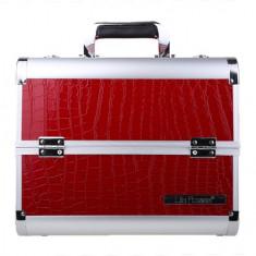 Geanta valiza case manichiura cosmetice manichiuriste make up bag Medie rosie - Geanta cosmetice