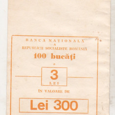 Bnk div - Plic BNR Bucuresti - 100 bucati x 3 lei - portocaliu