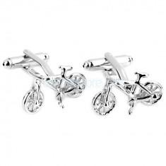 Butoni camasa argintii model bicicleta + cutie simpla cadou