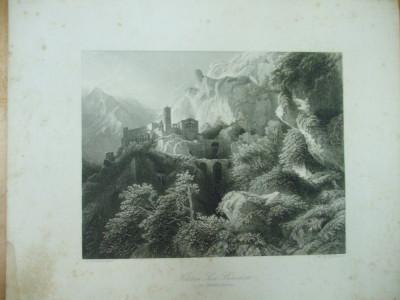 Gravura castel San Benedetto in muntii Sabini Lazio Rieti Italia Payne Biermann foto