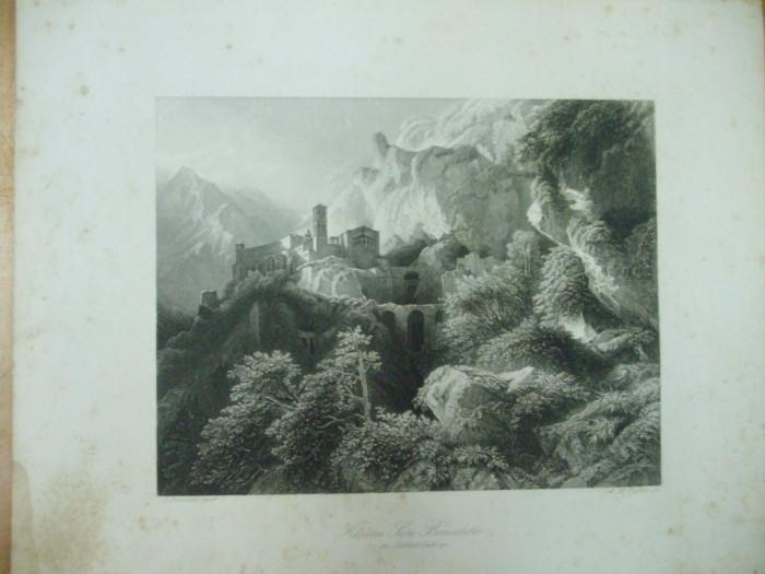 Gravura castel San Benedetto in muntii Sabini Lazio Rieti Italia Payne Biermann