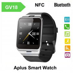 Smartwatch Ceas Telefon GSM Inteligent GV18 APLUS Cu Sim, Bluetooth Android, NFC, Aluminiu, Argintiu, Android Wear