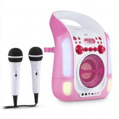 Auna Kara Illumina Karaoke mobil CD MP3 USB LED roz 2 x microfoane - Echipament karaoke