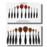 SEt kit 10 pensule pensoane machiaj make up ovale fond de ten pudra blush - Trusa make up