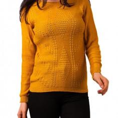 Pulover mustar tricotat dama - Pulover dama, Marime: Masura unica, Cardigan, Acril